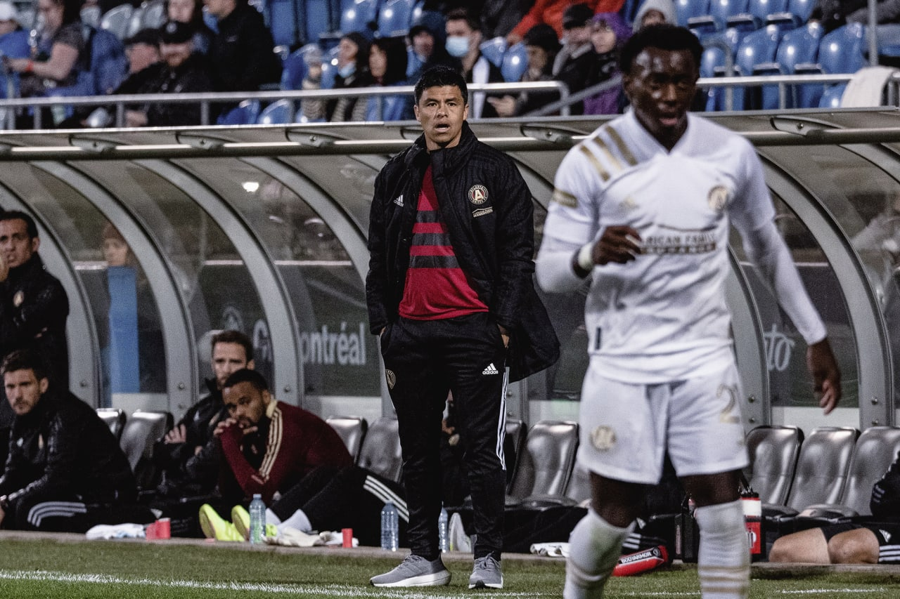 Atlanta United Head Coach Gonzalo Pineda looks on during the second half of the match against CF Montréal at Stade Saputo in Montreal, Quebec, on Saturday October 2, 2021. (Photo by Audrey Magny/Atlanta United)