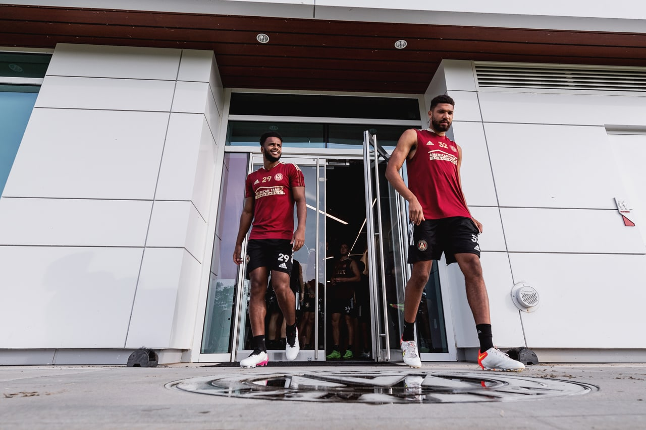 Atlanta United midfielder Mo Adams #29 and defender George Campbell #32 walk out during training at Children's Healthcare of Atlanta Training Ground in Marietta, GA, on Wednesday September 8, 2021.