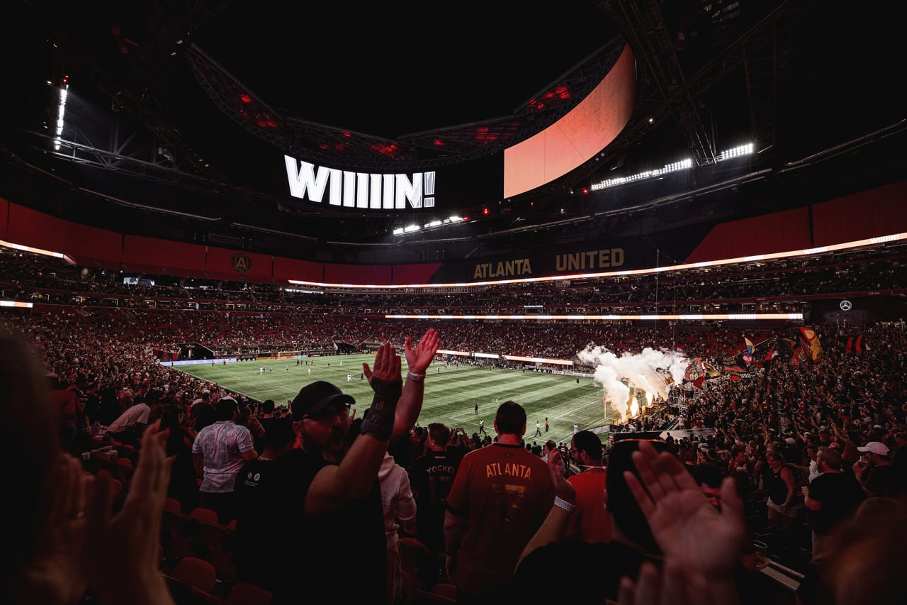 A wide stadium shot after winning the match against Inter Miami at Mercedes-Benz Stadium in Atlanta, Georgia on Wednesday September 29, 2021. (Photo by Kyle Hess/Atlanta United)