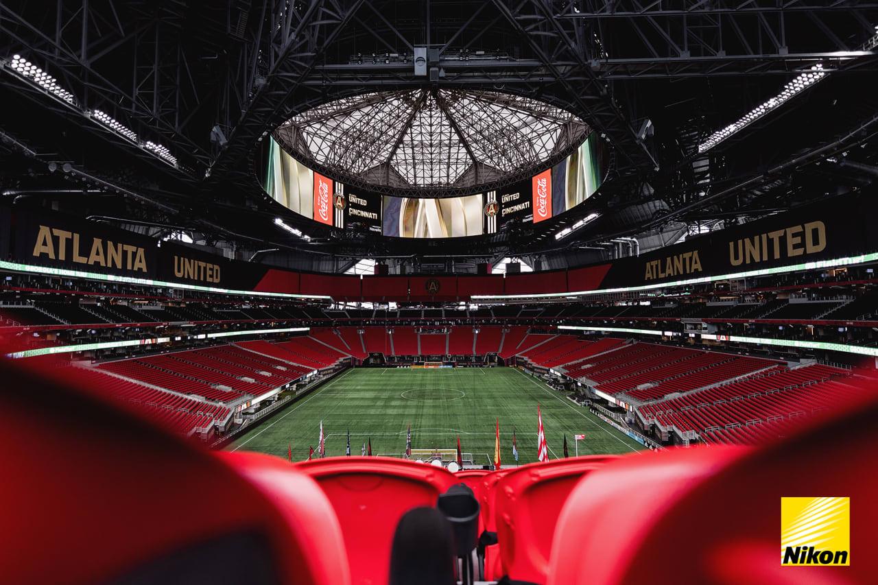 Scene setter of the stadium before the match against Cincinnati FC at Mercedes-Benz Stadium in Atlanta, Georgia, on Wednesday September 15, 2021. (Photo by Jacob Gonzalez/Atlanta United)