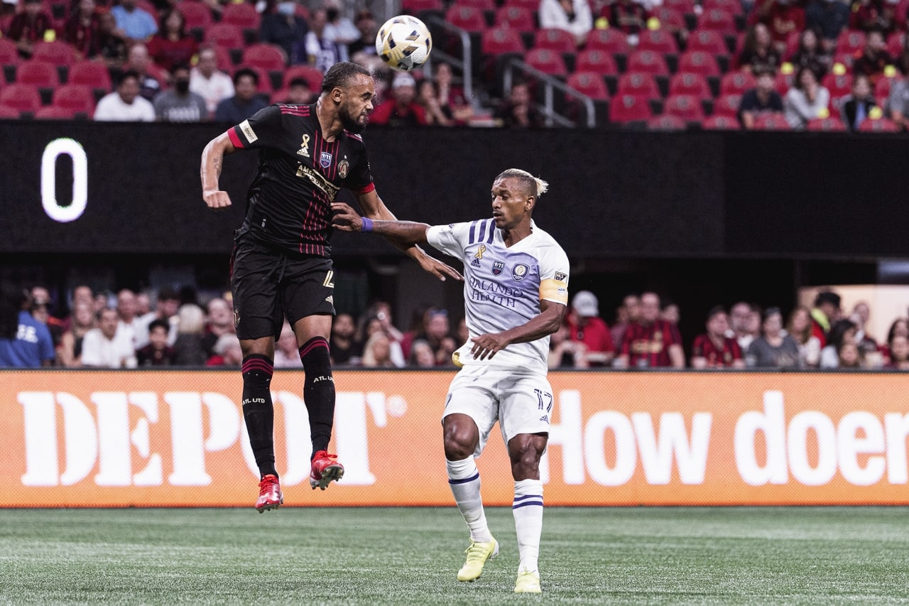 Atlanta United defender Anton Walkes #4 goes up for the ball during the match against Orlando City at Mercedes-Benz Stadium in Atlanta, Georgia on Friday September 10, 2021. (Photo by Mitchell Martin/Atlanta United)