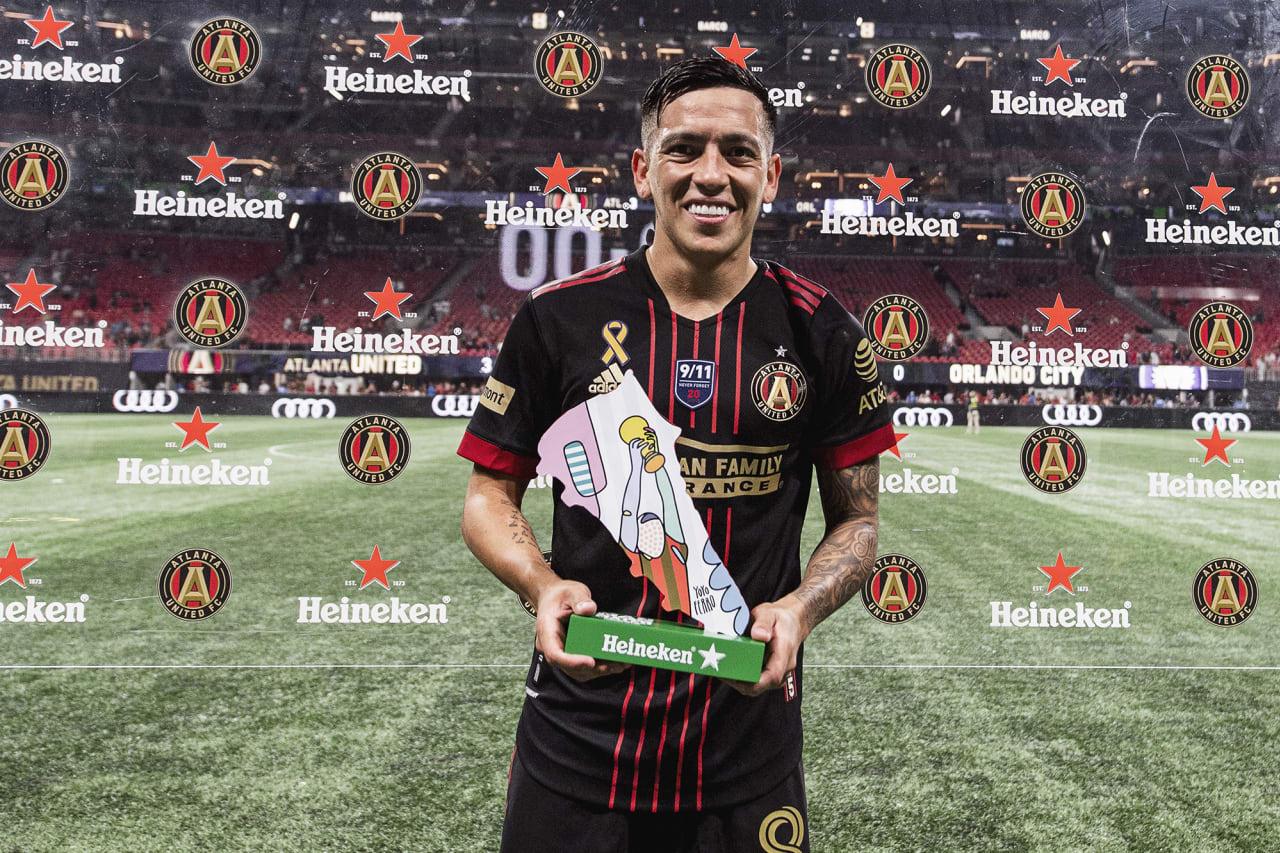 Atlanta United midfielder Ezequiel Barco #8 poses for a photo after winning man of the match against Orlando City at Mercedes-Benz Stadium in Atlanta, Georgia on Friday September 10, 2021. (Photo by Mitchell Martin/Atlanta United)