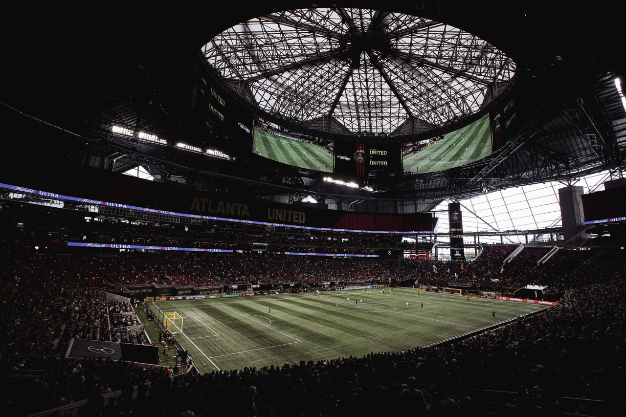 General view of the stadium during the match against D.C. United at Mercedes-Benz Stadium in Atlanta, Georgia on Saturday September 18, 2021. (Photo by Matthew Grimes/Atlanta United)
