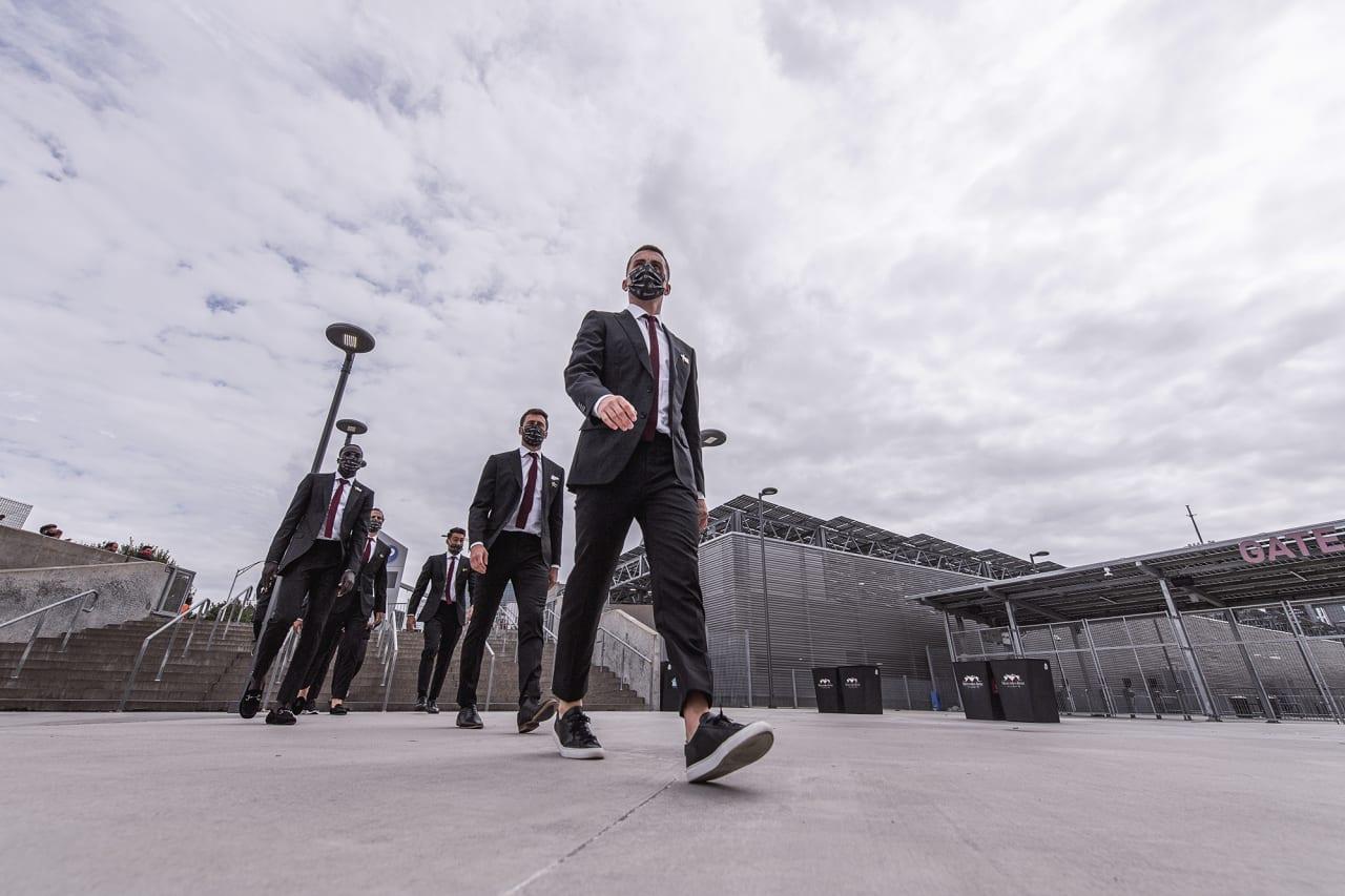 Atlanta United defender Brooks Lennon #11 arrives to the stadium before the match against D.C. United at Mercedes-Benz Stadium in Atlanta, Georgia on Saturday September 18, 2021. (Photo by Jacob Gonzalez/Atlanta United)