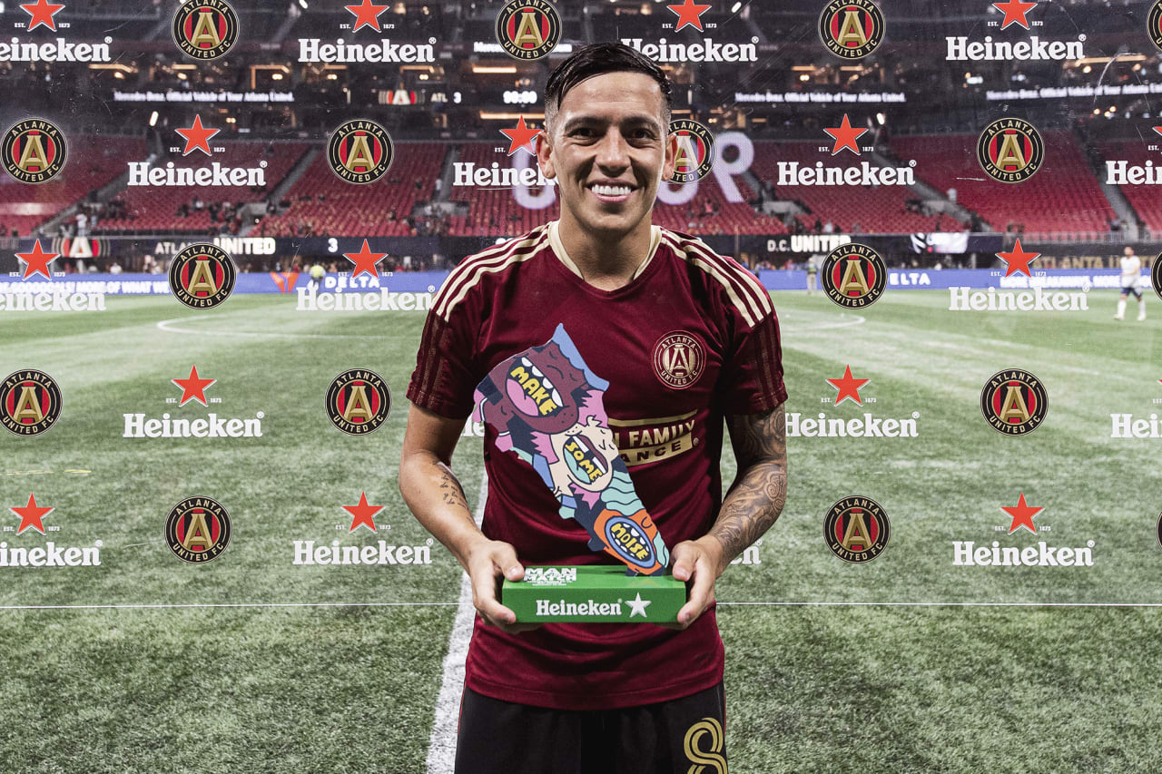Atlanta United midfielder Ezequiel Barco #8 poses for a photo after being named Man the Match against D.C. United at Mercedes-Benz Stadium in Atlanta, Georgia on Saturday September 18, 2021. (Photo by Jacob Gonzalez/Atlanta United)