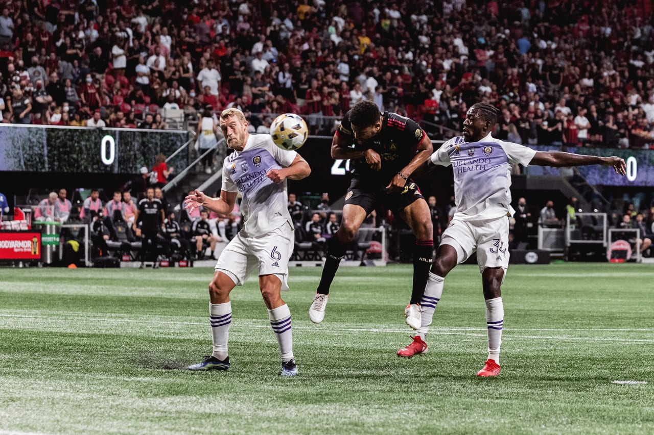 Atlanta United defender George Campbell #32 scores his first MLS goal during the first half of the match against Orlando City at Mercedes-Benz Stadium in Atlanta, Georgia on Friday September 10, 2021. (Photo by AJ Reynolds/Atlanta United)