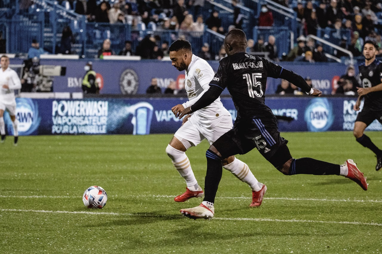 Atlanta United midfielder Jake Mulraney #23 scores a goal during the second half of the match against CF Montréal at Stade Saputo in Montreal, Quebec, on Saturday October 2, 2021. (Photo by Audrey Magny/Atlanta United)