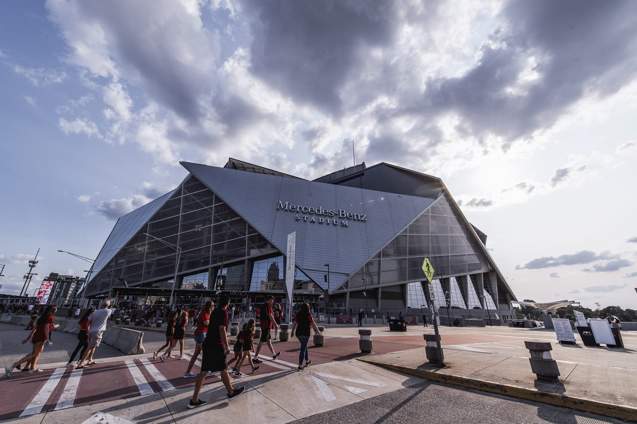 General view of Mercedes-Benz Stadium before the match against Orlando City at Mercedes-Benz Stadium in Atlanta, Georgia on Friday September 10, 2021. (Photo by Mitchell Martin/Atlanta United)
