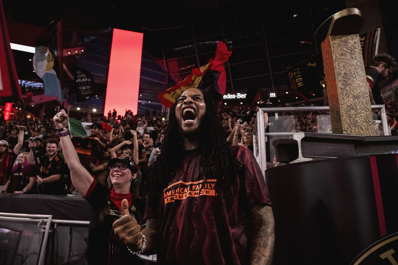 Singer/songwriter Waka Flocka Flame cheers during the match against Inter Miami at Mercedes-Benz Stadium in Atlanta, Georgia on Wednesday September 29, 2021. (Photo by Adam Hagy/Atlanta United)