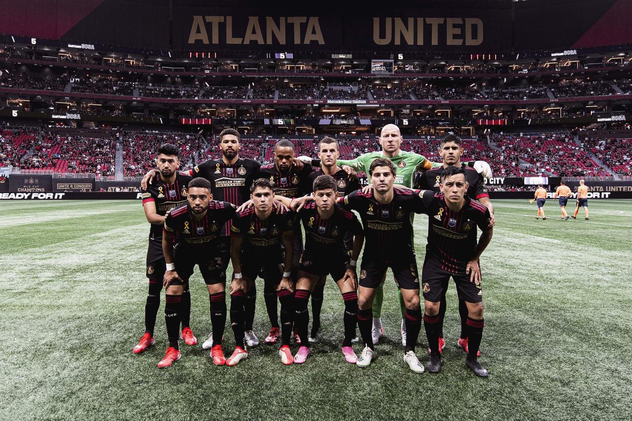 Atlanta United starting 11 pose for a photo before the match against Orlando City at Mercedes-Benz Stadium in Atlanta, Georgia on Friday September 10, 2021. (Photo by Jacob Gonzalez/Atlanta United)