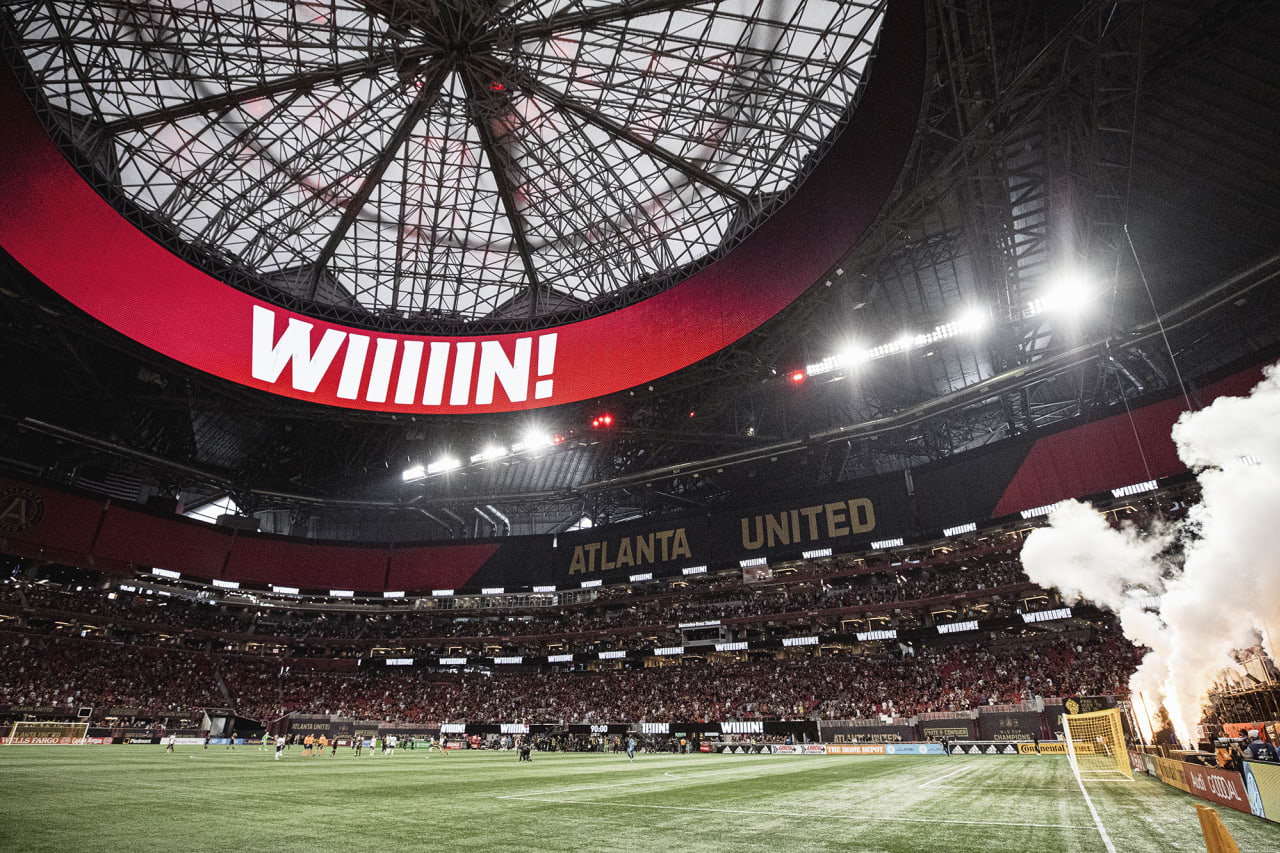 General view of the stadium after Atlanta United wins the match against D.C. United at Mercedes-Benz Stadium in Atlanta, Georgia on Saturday September 18, 2021. (Photo by Karl Moore/Atlanta United)
