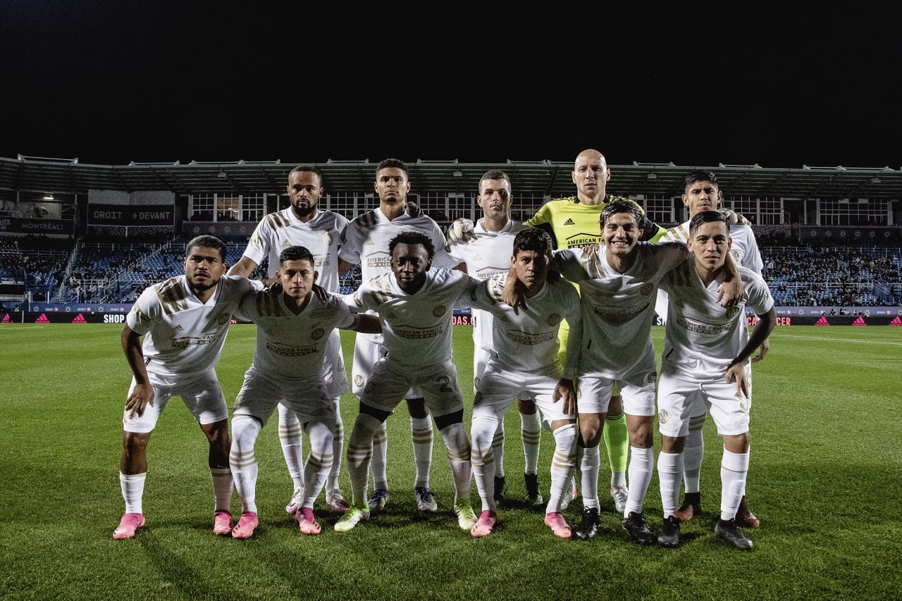 Starting 11 pose before the match against CF Montréal at Stade Saputo in Montreal, Quebec, on Saturday October 2, 2021. (Photo by Audrey Magny/Atlanta United)