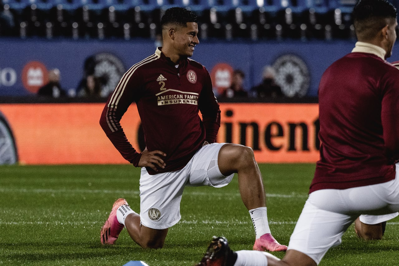 Atlanta United defender Ronald Hernandez #2 warmups before the match against CF Montréal at Stade Saputo in Montreal, Quebec, on Saturday October 2, 2021. (Photo by Audrey Magny/Atlanta United)