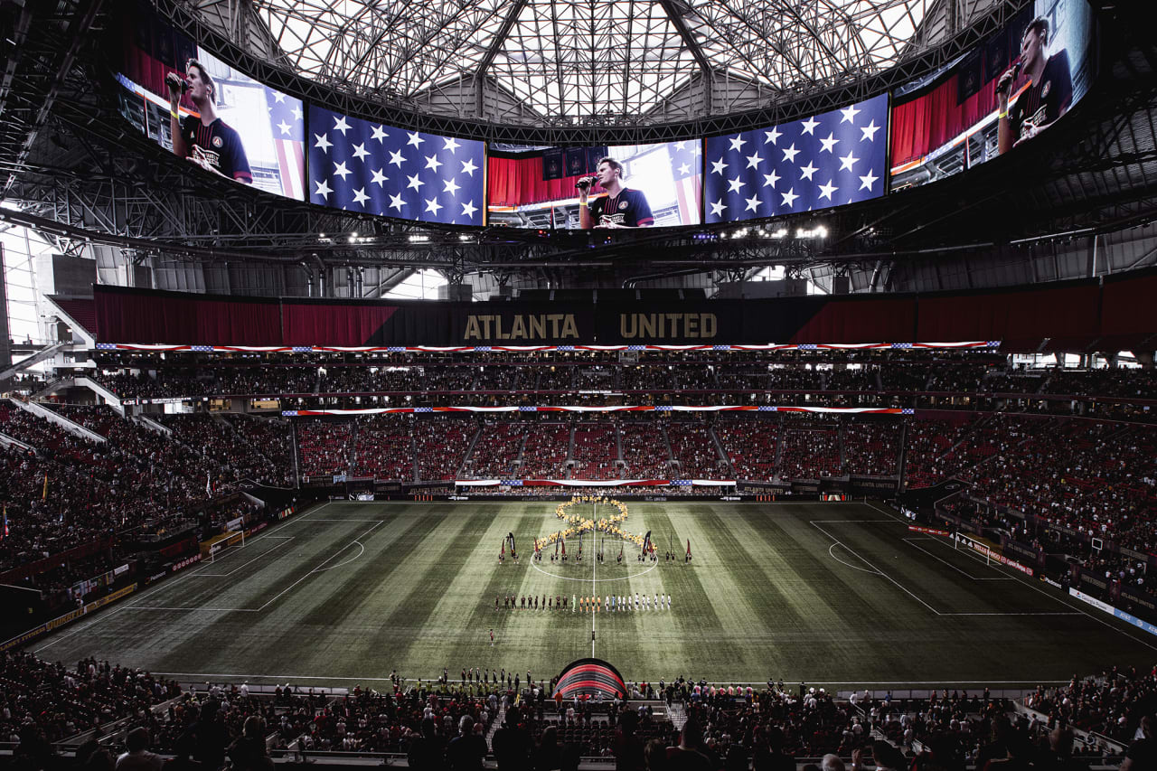 General view of the stadium showing Unite and conquer cancer ribbon before the match against D.C. United at Mercedes-Benz Stadium in Atlanta, Georgia on Saturday September 18, 2021. (Photo by Matthew Grimes/Atlanta United)