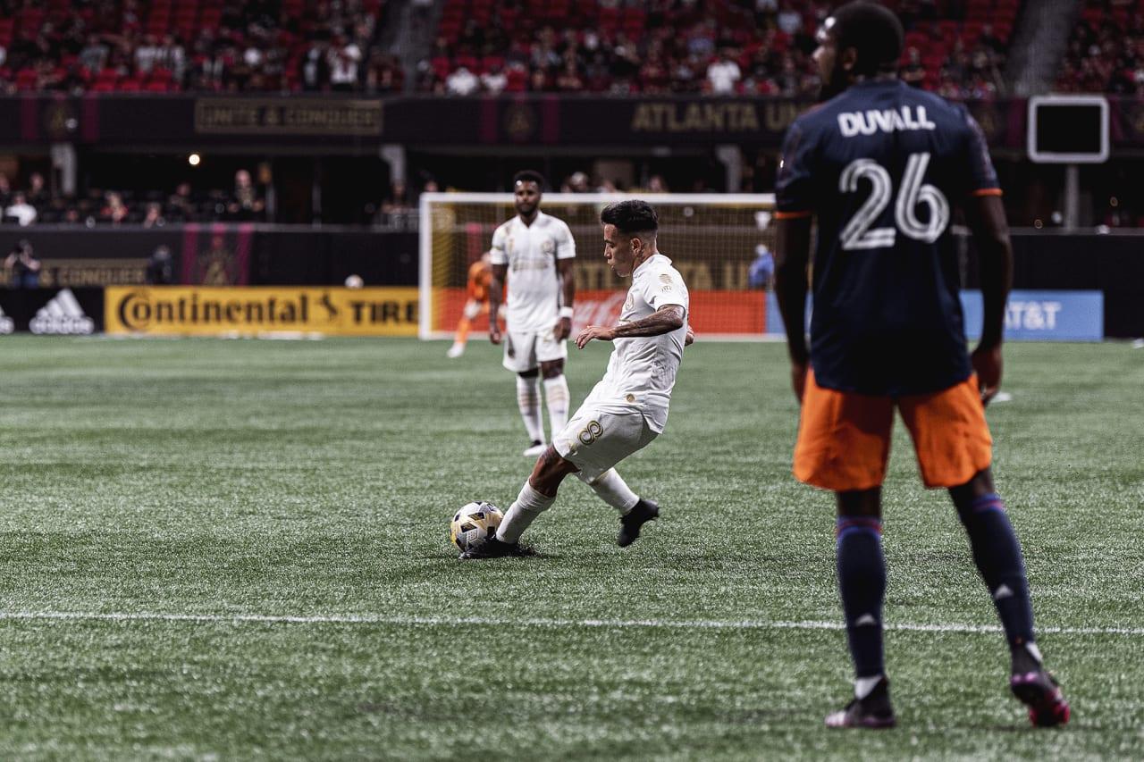Atlanta United midfielder Ezequiel Barco #8 scores a goal during the match against Cincinnati FC at Mercedes-Benz Stadium in Atlanta, Georgia on Wednesday September 15, 2021. (Photo by Dakota Williams/Atlanta United)