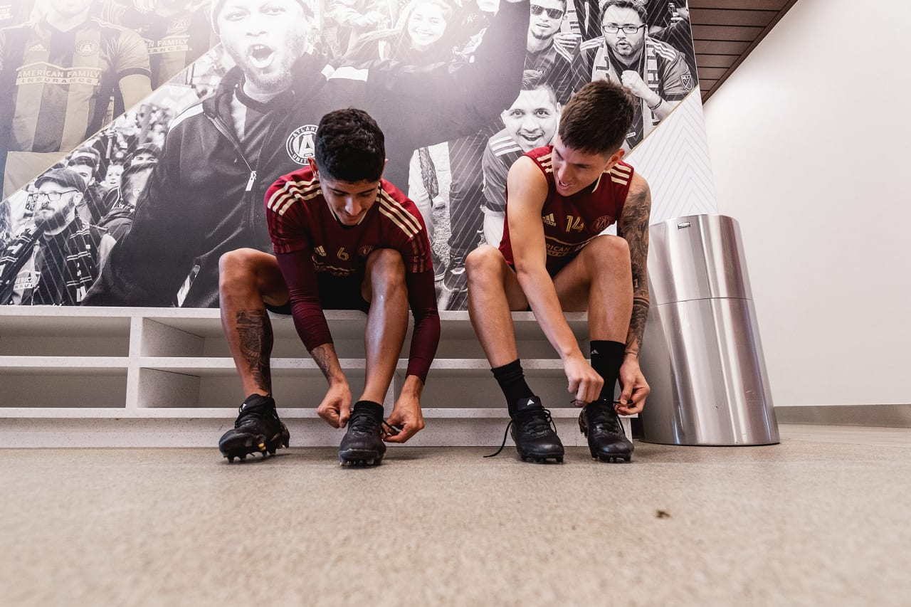Atlanta United defender Alan Franco #6 and midfielder Franco Ibarra #14 put their boots on during training at Children's Healthcare of Atlanta Training Ground in Marietta, GA, on Tuesday September 14, 2021. (Photo by Jacob Gonzalez/Atlanta United)