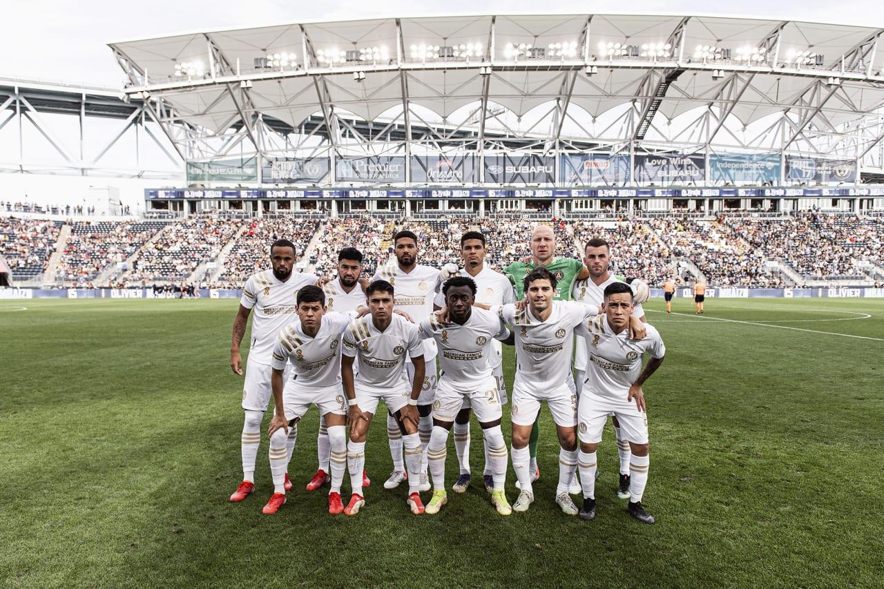 Atlanta United starting 11 pose for a photo before the match against Philadelphia Union at Subaru Park in Philadelphia, Pennsylvania on Saturday September 25, 2021. (Photo by Jacob Gonzalez/Atlanta United)