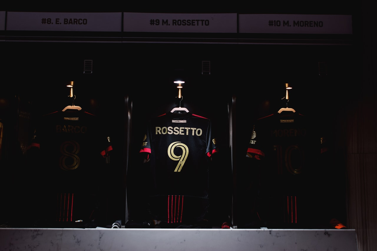 The locker room setup is shown before the match against Inter Miami FC at Mercedes-Benz Stadium in Atlanta, Georgia, on Wednesday September 29, 2021. (Photo by Jacob Gonzalez/Atlanta United)