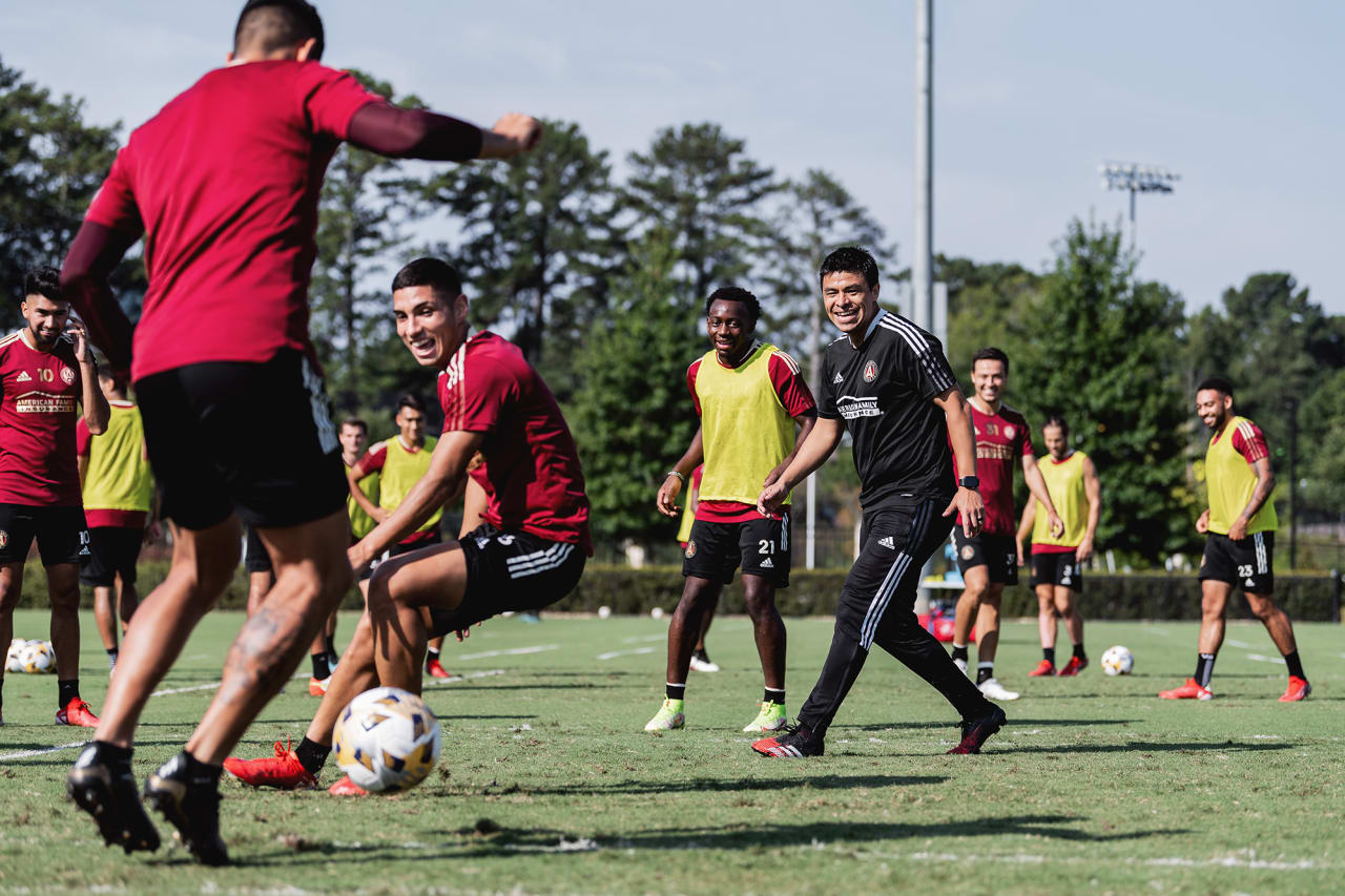 Atlanta United Head Coach Gonzalo Pineda joins a drill during training at Children's Healthcare of Atlanta Training Ground in Marietta, GA, on Tuesday September 14, 2021. (Photo by Jacob Gonzalez/Atlanta United)