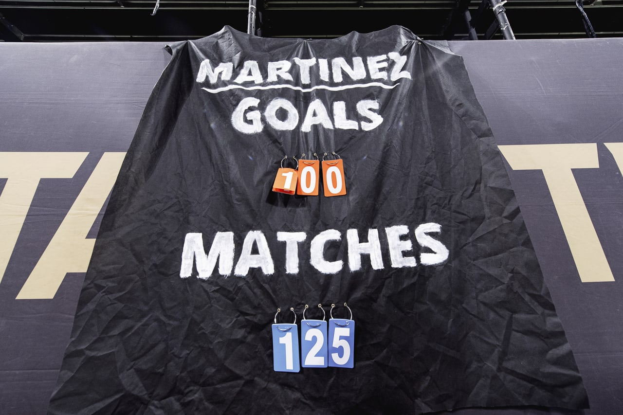 A banner shows Atlanta United forward Josef Martinez #7 100th club goal and match total during the match against Inter Miami at Mercedes-Benz Stadium in Atlanta, Georgia on Wednesday September 29, 2021. (Photo by Jacob Gonzalez/Atlanta United)