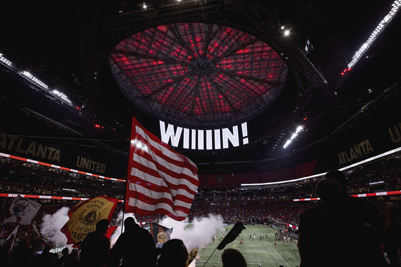 General view of the stadium after Atlanta United wins the match against Cincinnati FC at Mercedes-Benz Stadium in Atlanta, Georgia on Wednesday September 15, 2021. (Photo by Casey Sykes/Atlanta United)