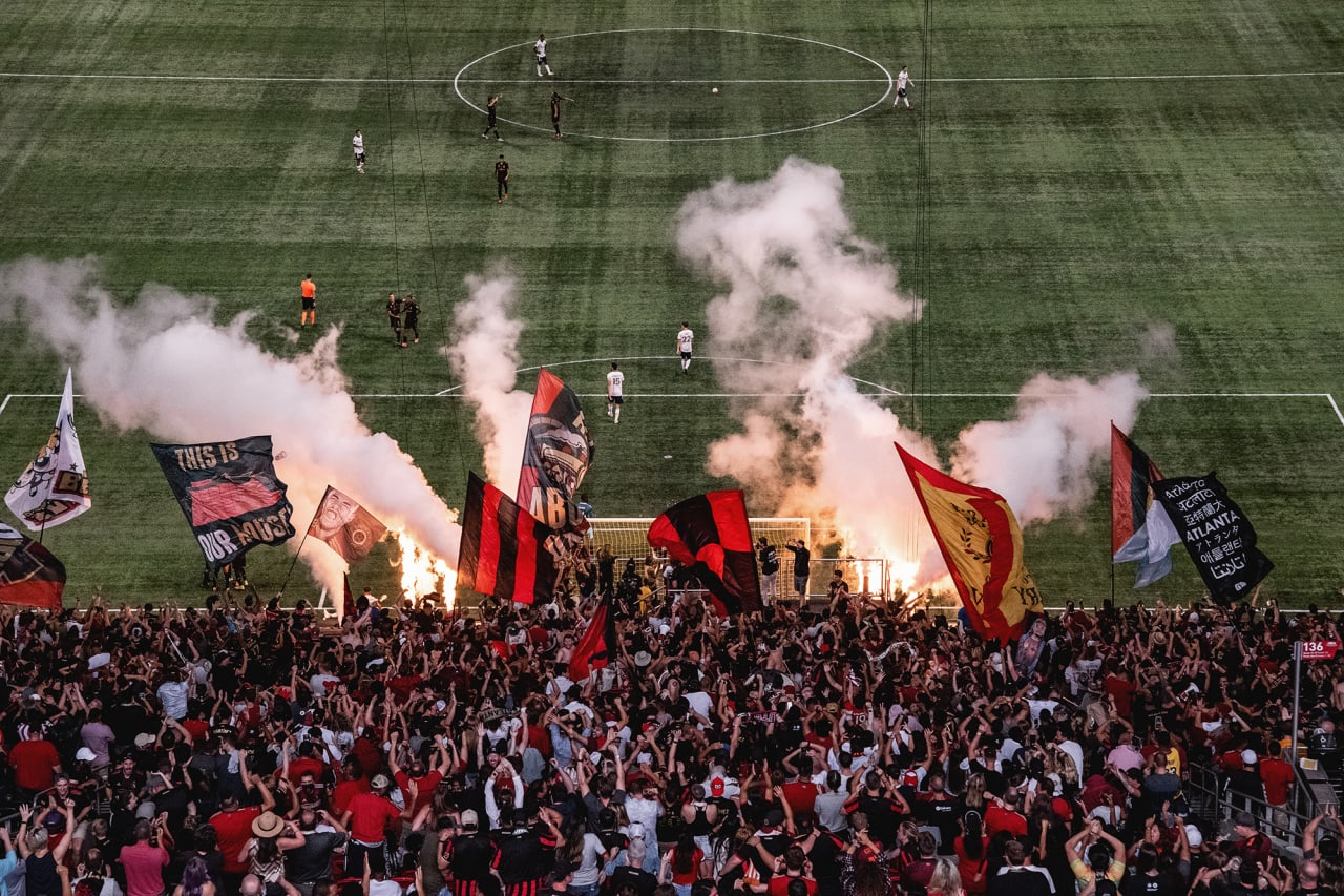 A wide field shot after a goal during the second half of the match against DC United at Mercedes-Benz Stadium in Atlanta, Georgia, on Saturday September 18, 2021. (Photo by Jacob Gonzalez/Atlanta United)