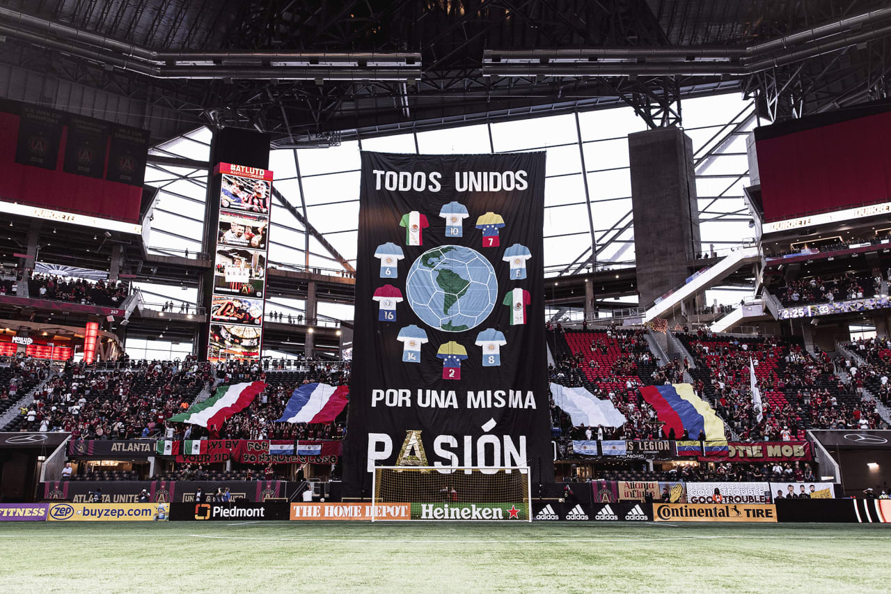 A tifo for Hispanic Heritage month is displayed before the match against Inter Miami at Mercedes-Benz Stadium in Atlanta, Georgia on Wednesday September 29, 2021. (Photo by Jacob Gonzalez/Atlanta United)