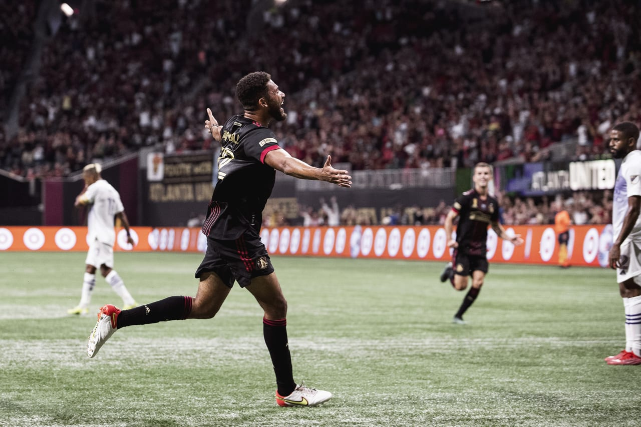 Atlanta United defender George Campbell #32 celebrates after scoring his first goal during the match against Orlando City at Mercedes-Benz Stadium in Atlanta, Georgia on Friday September 10, 2021. (Photo by AJ Reynolds/Atlanta United)