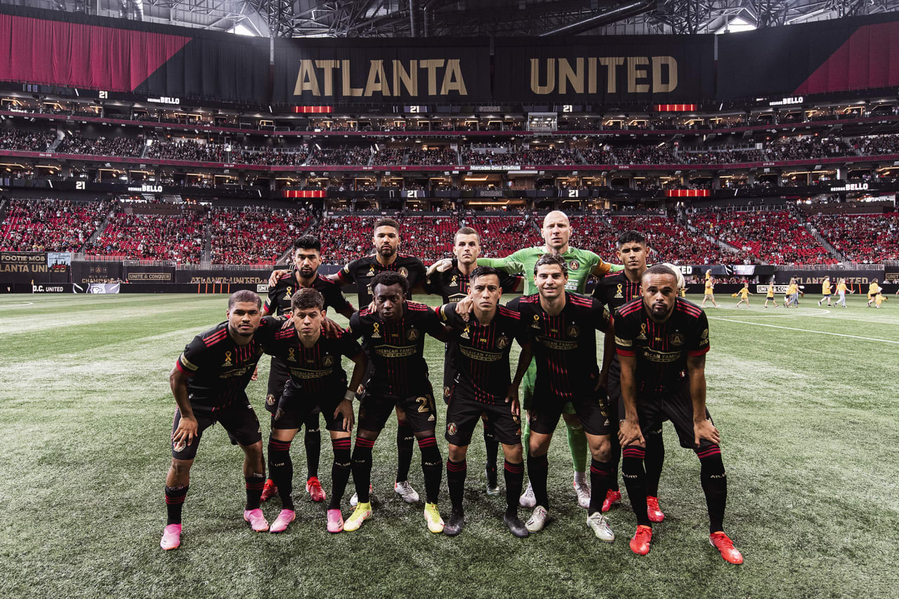 Atlanta United starting 11 pose for a photo before the match against D.C. United at Mercedes-Benz Stadium in Atlanta, Georgia on Saturday September 18, 2021. (Photo by Jacob Gonzalez/Atlanta United)