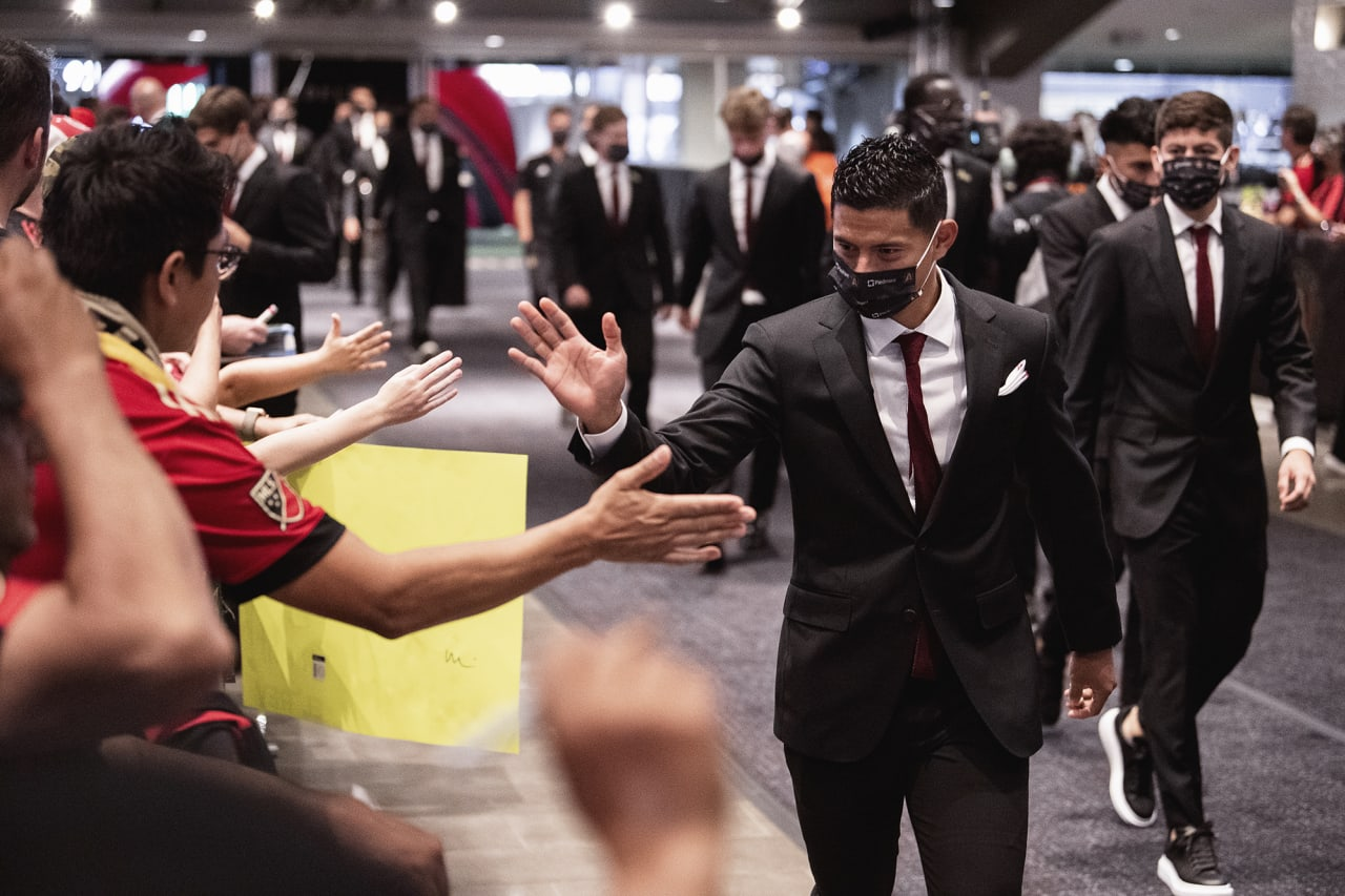 Atlanta United defender Ronald Hernandez #2 high fives  supporters during team arrival before the match against Inter Miami at Mercedes-Benz Stadium in Atlanta, Georgia on Wednesday September 29, 2021. (Photo by Kyle Hess/Atlanta United)
