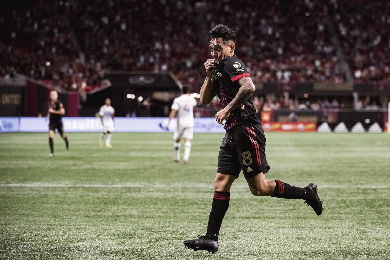 Atlanta United midfielder Ezequiel Barco #8 celebrates after scoring a goal during the match against Orlando City at Mercedes-Benz Stadium in Atlanta, Georgia on Friday September 10, 2021. (Photo by Adam Hagy/Atlanta United)