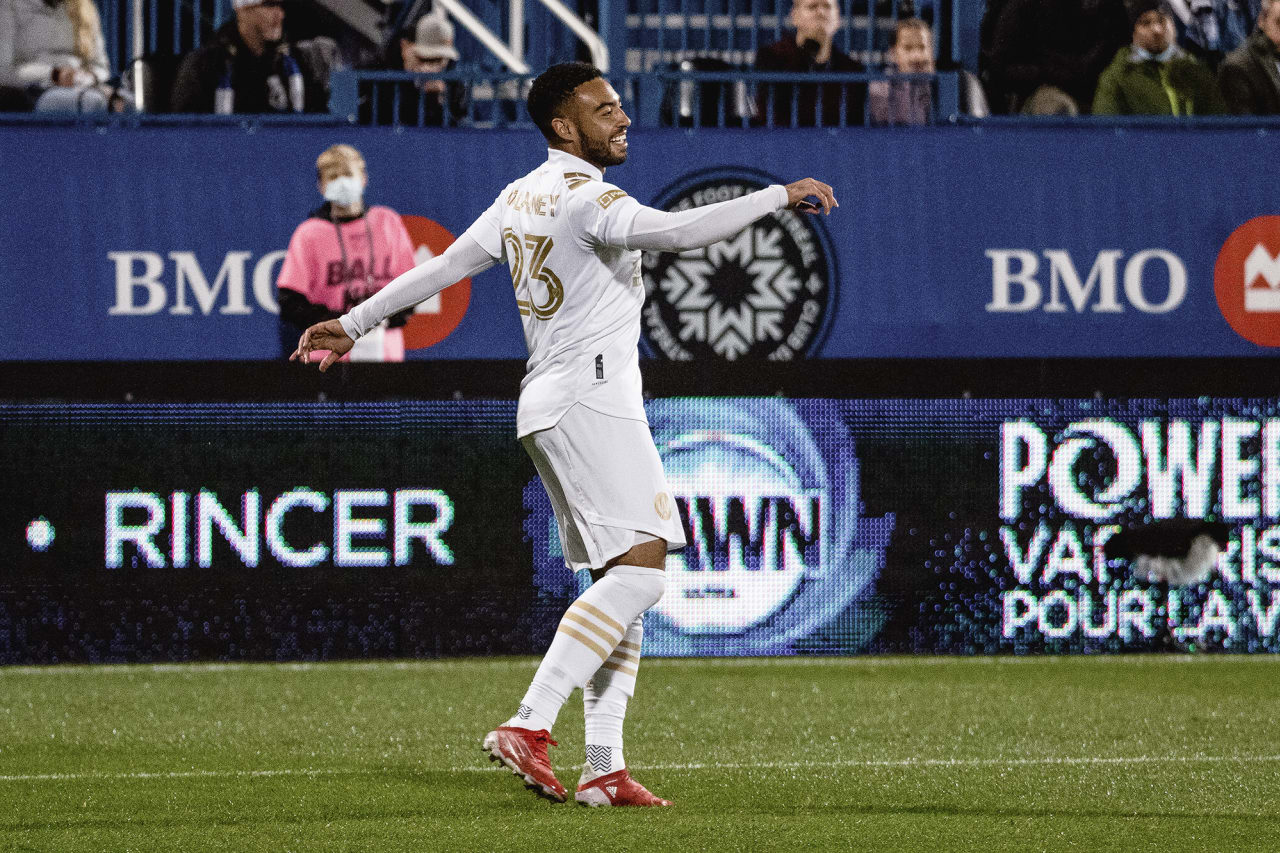 Atlanta United midfielder Jake Mulraney #23 celebrates after scoring a goal during the second half of the match against CF Montréal at Stade Saputo in Montreal, Quebec, on Saturday October 2, 2021. (Photo by Audrey Magny/Atlanta United)