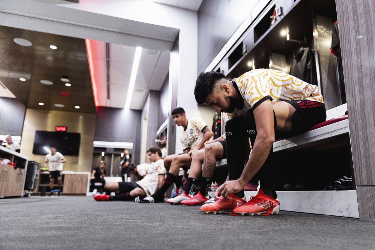 Atlanta United midfielder Marcelino Moreno #10 prepares in the locker room before the match against Inter Miami at Mercedes-Benz Stadium in Atlanta, Georgia on Wednesday September 29, 2021. (Photo by Jacob Gonzalez/Atlanta United)