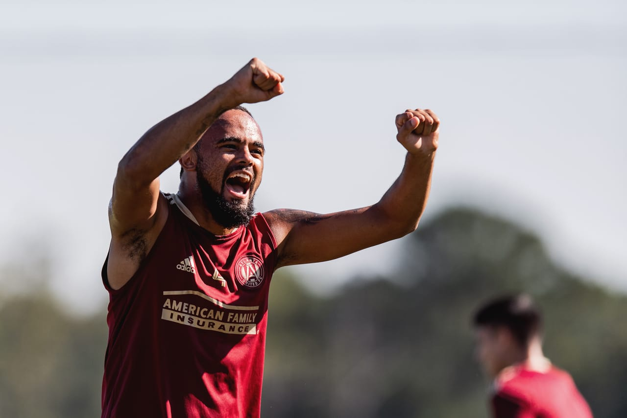 Atlanta United defender Anton Walkes #4 celebrates during training at Children's Healthcare of Atlanta Training Ground in Marietta, GA, on Monday September 27, 2021. (Photo by Jacob Gonzalez/Atlanta United)