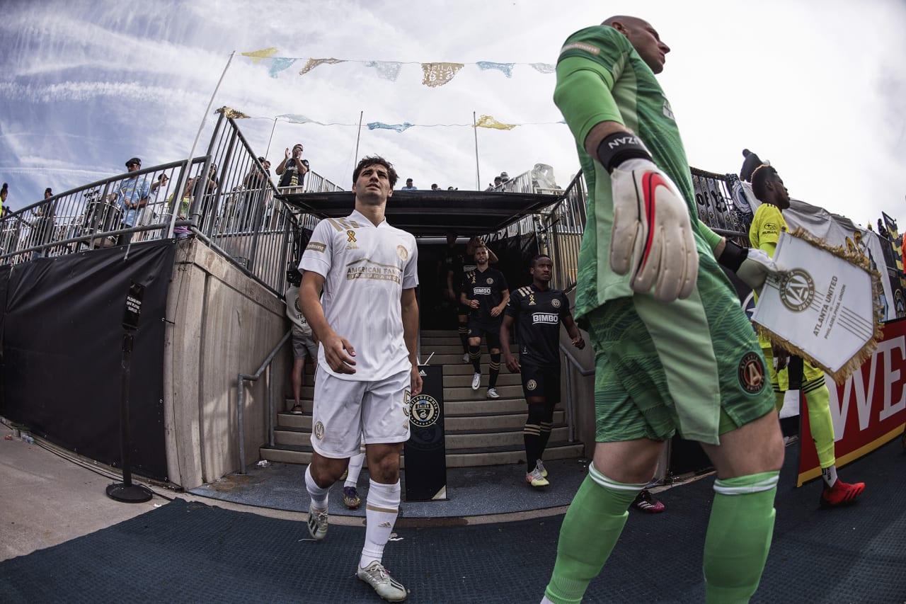 Atlanta United midfielder Santiago Sosa #5 walks out before the match against Philadelphia Union at Subaru Park in Philadelphia, Pennsylvania on Saturday September 25, 2021. (Photo by Jacob Gonzalez/Atlanta United)
