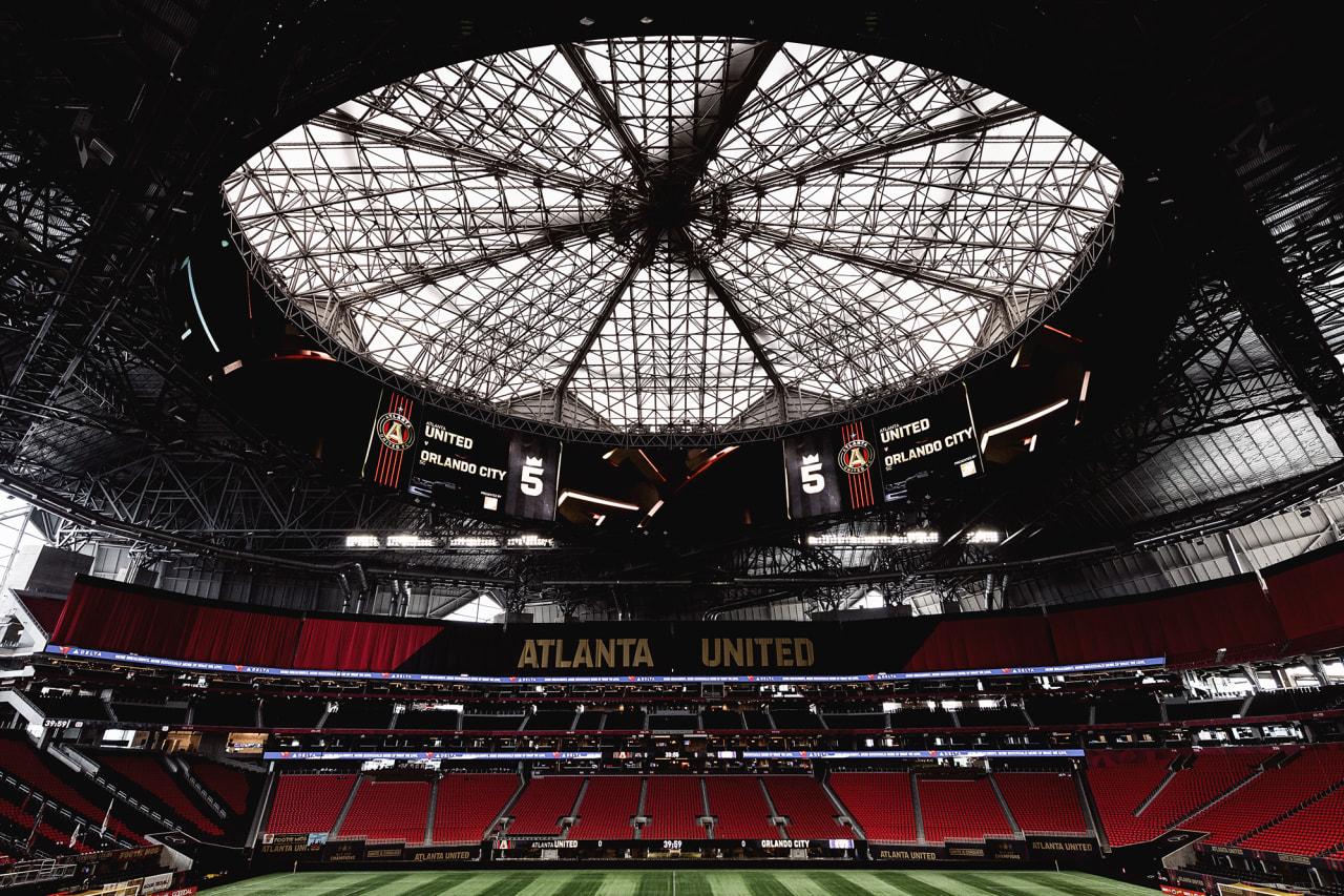 Scene setters of the stadium before the match against Orlando SC at Mercedes-Benz Stadium in Atlanta, Georgia, on Friday September 10, 2021. (Photo by Mitch Martin/Atlanta United)