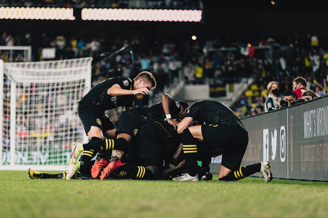 Scenes after The Captain, Jonathan Mensah, scored