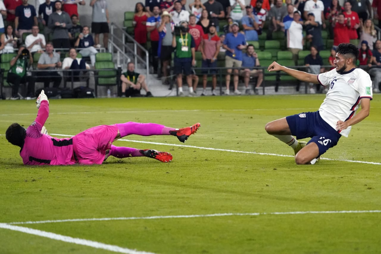Oct 7, 2021; Austin, Texas, USA; United States forward Ricardo Pepi (16) scores a goal past Jamaica goalkeeper Andre Blake (1) during the second half of a FIFA World Cup Qualifier at Q2 Stadium. Mandatory Credit: Chuck Burton-USA TODAY Sports