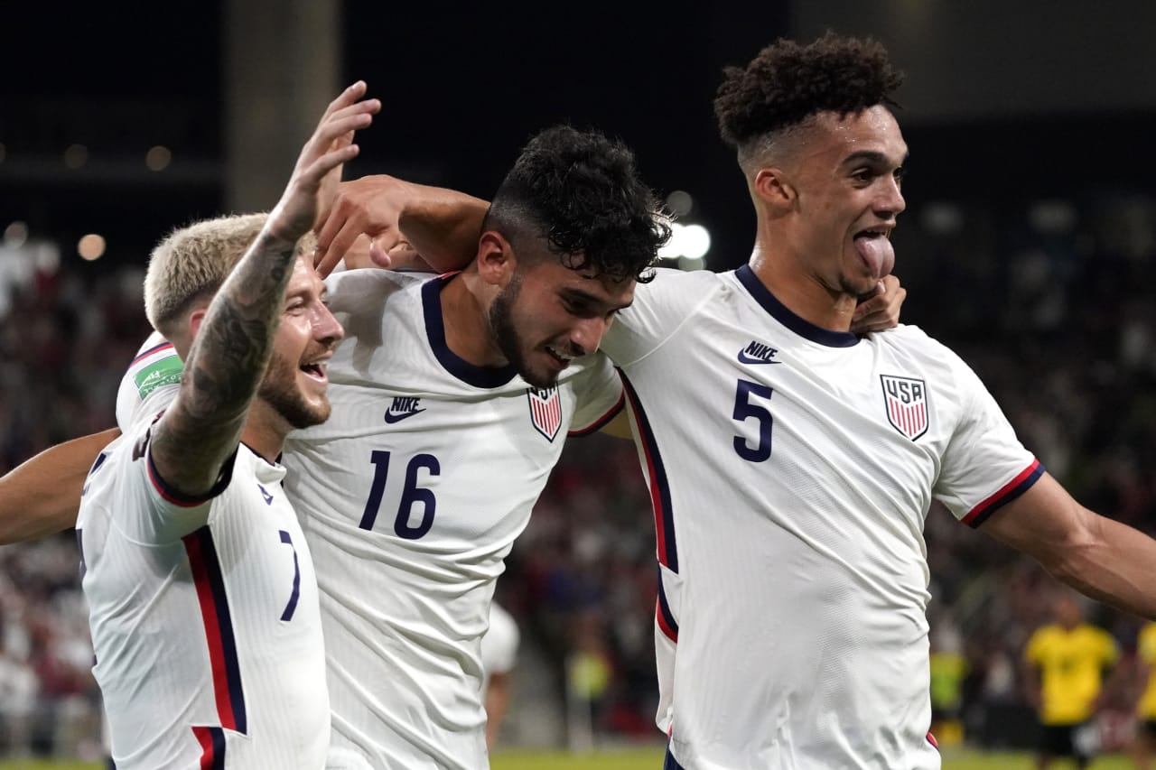 Oct 7, 2021; Austin, Texas, USA; United States forward Ricardo Pepi (16) celebrates his goal against Jamaica with teammates Paul Arriola (7) and Antonee Robinson (5) during the second half of a FIFA World Cup Qualifier at Q2 Stadium.